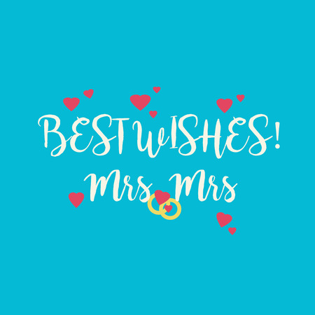 mrs: Cute wedding Best Wishes Mrs Mrs congratulations card for a lesbian couple with pink hearts and golden rings on blue background.