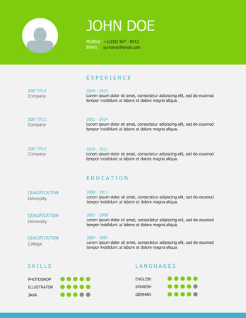 headings: Professional simple styled resume template design with green and blue headings.