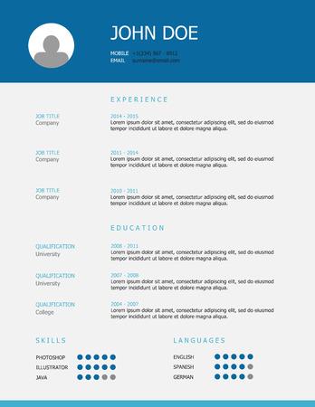Professionnel conception simple de modèle de CV stylé avec des titres bleu et turquoise.