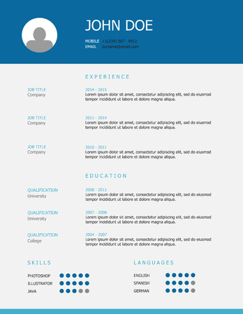 headings: Professional simple styled resume template design with blue and teal headings. Illustration