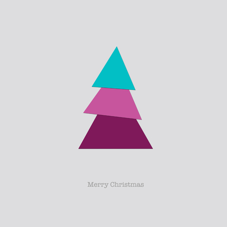 nye: Sleek modern Merry Christmas card with a folded pink blue paper tree.