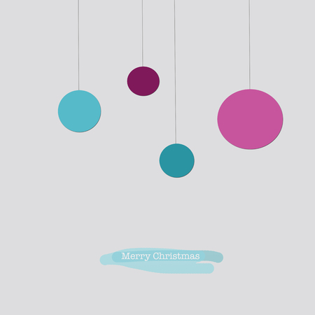 sleek: Sleek modern Merry Christmas card with pink and red Christmas baubles Stock Photo