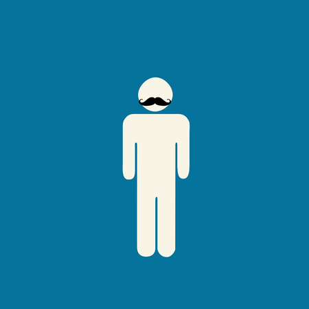 prostate: Movember prostate cancer awareness - stick figure with mustache on blue background.