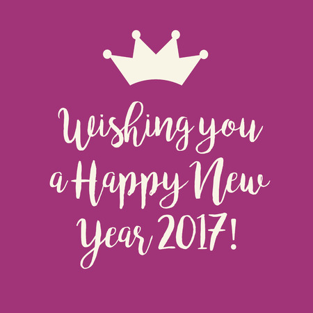 nye: Simple pink Wishing you a Happy New Year 2017 card with a crown.