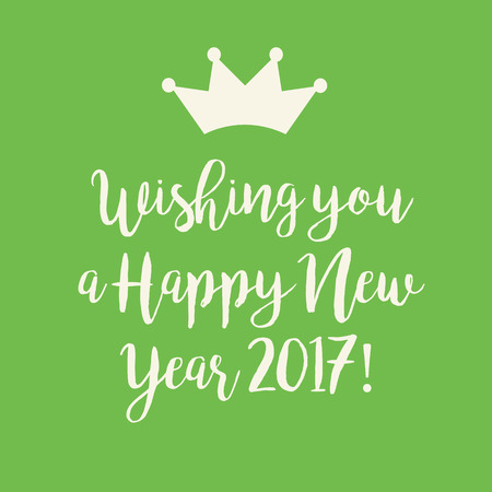 nye: Simple green Wishing you a Happy New Year 2017 card with a crown.
