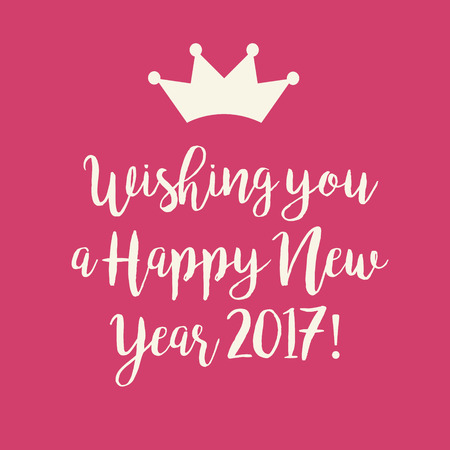 millennium: Simple pink Wishing you a Happy New Year 2017 card with a crown.