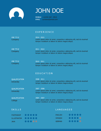 heading: Professional simple styled resume template design with blue heading on turquoise background.