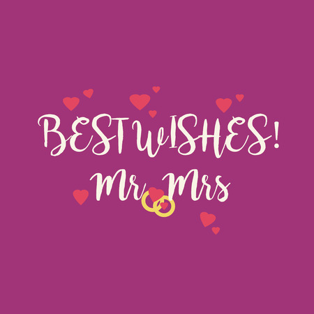 Cute magenta wedding Best Wishes Mr Mrs congratulations card with pink hearts and golden rings. Stock Photo