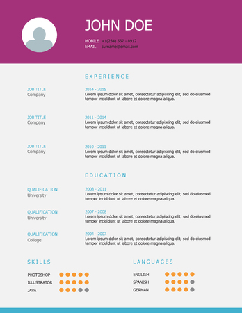 headings: Professional simple styled resume template design with purple and blue headings.