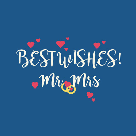 mrs: Cute blue wedding Best Wishes Mr Mrs congratulations greeting card with pink hearts and golden rings.