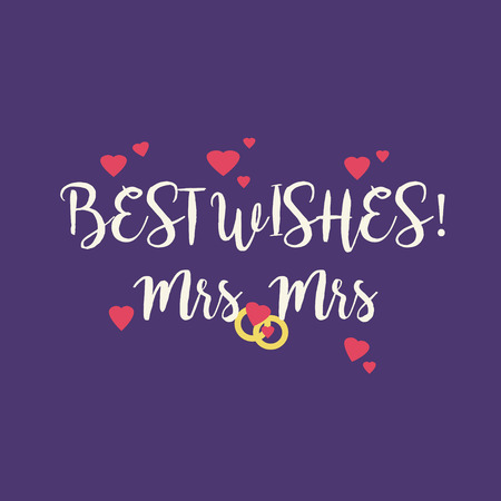 mrs: Cute wedding Best Wishes Mrs Mrs congratulations greeting card for a lesbian couple with pink hearts and golden rings on purple background. Stock Photo