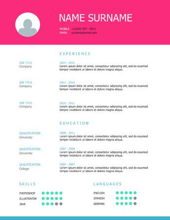 simple, de style professionnel CV conception de modèle avec des titres rose et bleu.