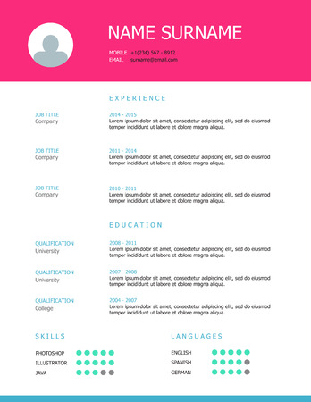 headings: Professional simple styled resume template design with pink and blue headings.