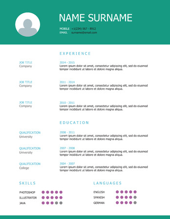Professional simple styled resume template design with green teal headings. Illustration
