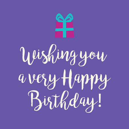 wishing card: Cute Wishing you a very Happy Birthday greeting card with a text and a pink wrapped birthday gift with blue ribbon bow on a purple background.