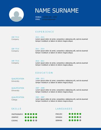 headings: Professional simple styled cv  resume template design with blue green headings and grey background.