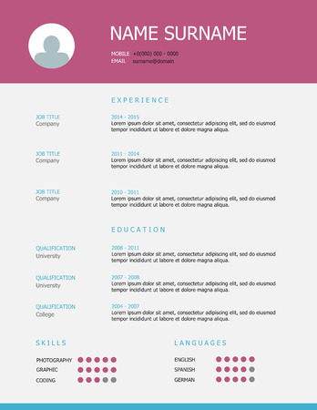 Professional simple styled resume template design with pink blue headings on grey background. Illustration