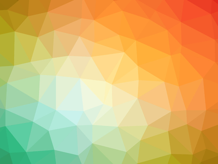 polychromatic: Abstract rainbow orange green yellow gradient polygon shaped background.