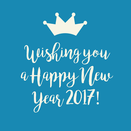 nye: Simple blue Wishing you a Happy New Year 2017 card with a crown.