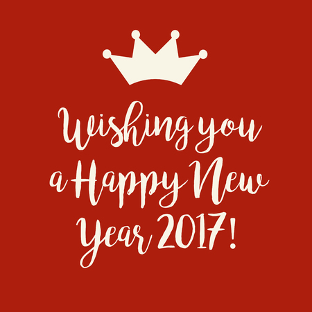 nye: Simple red Wishing you a Happy New Year 2017 card with a crown.