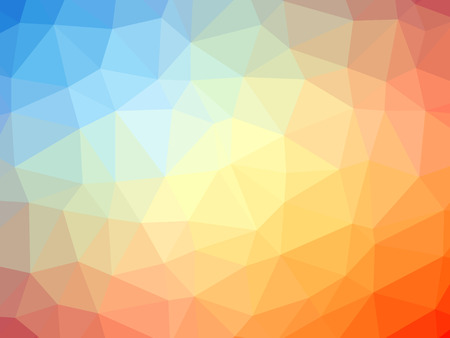 polychromatic: Abstract rainbow orange yellow blue gradient polygon shaped background. Stock Photo