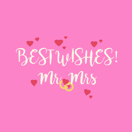 mr and mrs: Cute pink wedding Best Wishes Mr Mrs congratulations greeting card with hearts and golden rings. Stock Photo