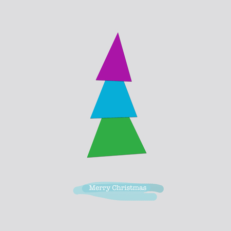 nye: Cute Merry Christmas greeting card with a folded blue pink green paper tree. Stock Photo