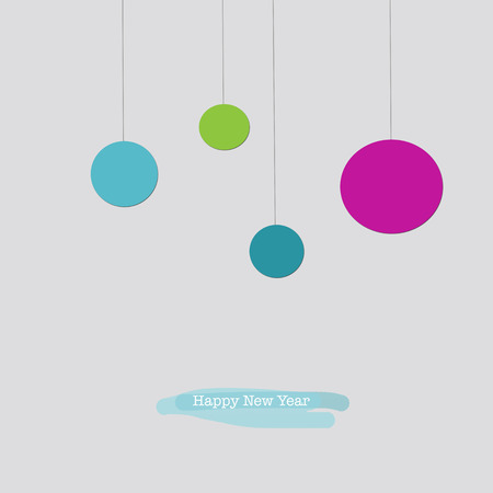pf: Cute Happy New Year greeting card with hanging pink red green Christmas baubles ornaments. Stock Photo