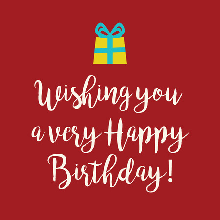 wishing card: Cute Wishing you a very Happy Birthday greeting card with a handwritten text and a yellow wrapped birthday gift with blue ribbon bow on a red background.