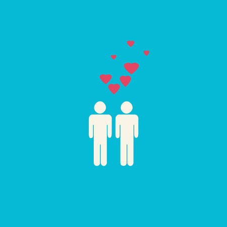 civil rights: Simple gay graphic with two male figures and pink hearts on blue background.