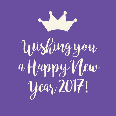 nye: Cute purple Wishing you a Happy New Year 2017 card with a crown.