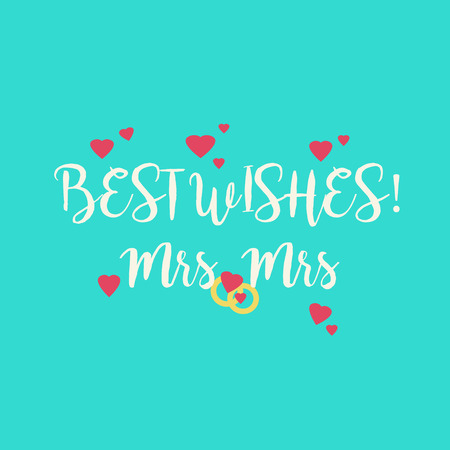 fiancee: Cute wedding Best Wishes Mrs Mrs congratulations greeting card for a lesbian couple with pink hearts and golden rings on blue background. Stock Photo