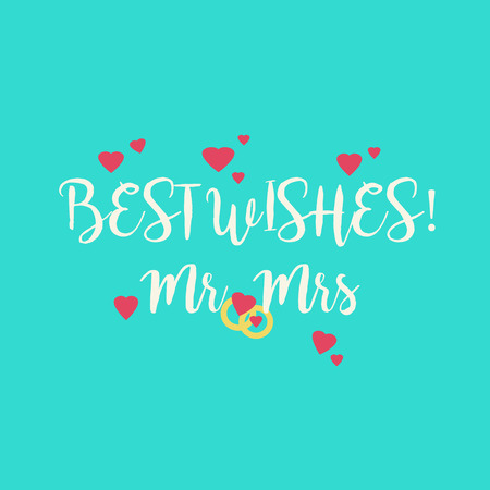 mr: Cute blue wedding Best Wishes Mr Mrs congratulations greeting card with pink hearts and golden rings.