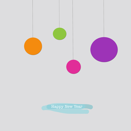 Cute Happy New Year greeting card with orange purple pink green Christmas baubles ornaments.