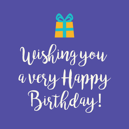 yellow card: Cute Wishing you a very Happy Birthday greeting card with a handwritten text and yellow wrapped birthday gift with blue ribbon bow on a purple background.