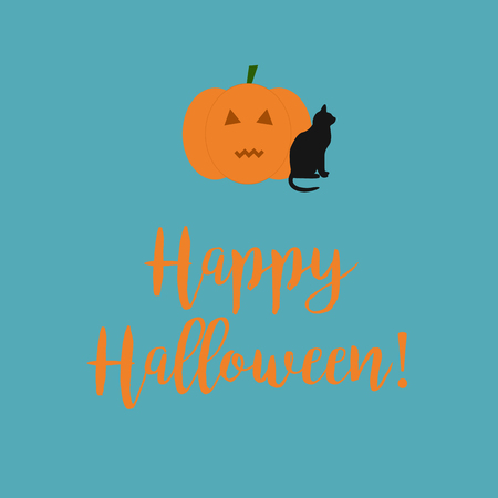 liturgy: Cute Happy Halloween card with a scary carved pumpkin and black cat on a blue background.