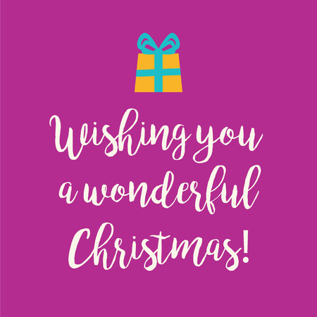 wonderful: Cute Wishing you a wonderful Christmas greeting card with a handwritten text and an orange wrapped birthday gift with blue ribbon bow on a magenta background.