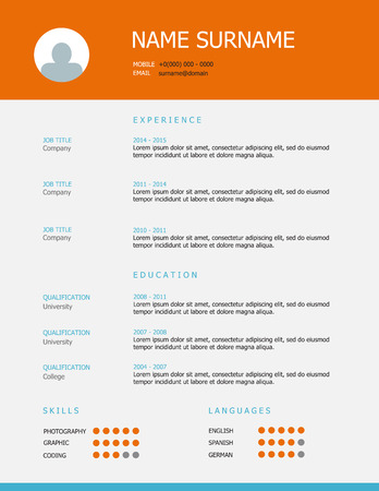 headings: Professional simple styled resume template design with orange blue headings on grey background.