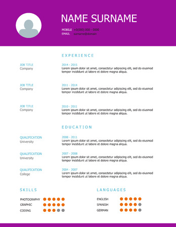 headings: Professional simple styled resume template design with purple headings