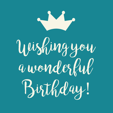 Cute Happy Birthday Greeting Card With A Text And A Crown Symbol