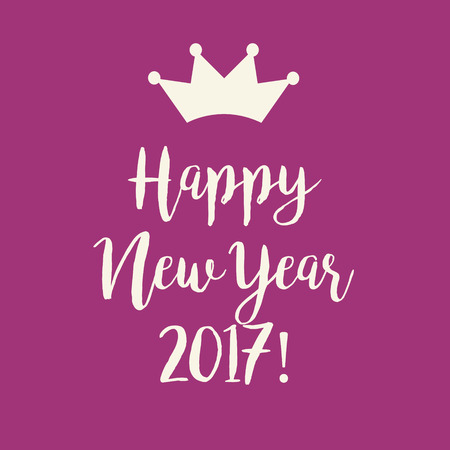 nye: Simple pink purple Happy New Year 2017 greeting card with a crown. Stock Photo