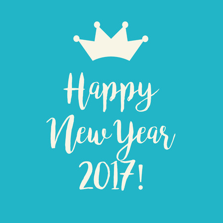 Simple blue Happy New Year 2017 card with a crown.