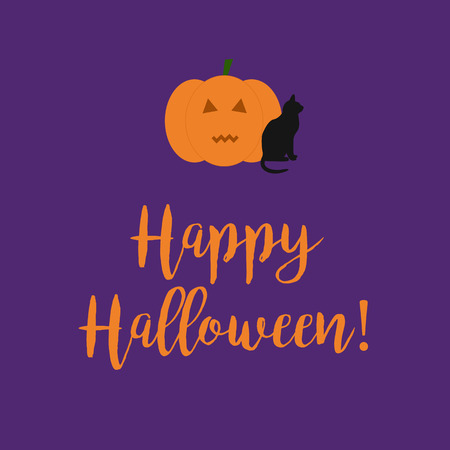 liturgy: Cute Happy Halloween card with a scary carved pumpkin and black cat on a purple background.