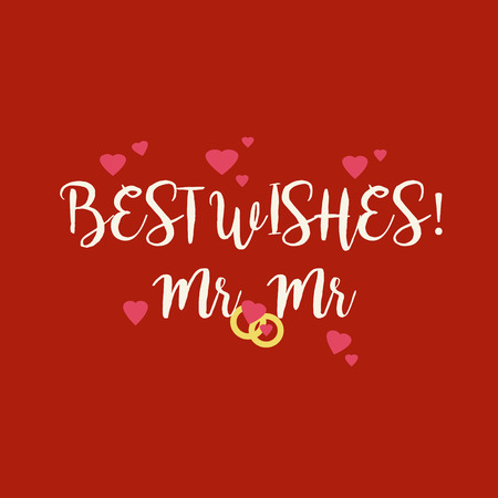 mr: Cute red wedding Best Wishes Mr Mr congratulations greeting card with pink hearts and golden rings for gay couple. Stock Photo