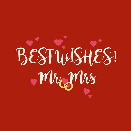 Cute red wedding Best Wishes Mr Mrs congratulations greeting card with pink hearts and golden rings. Stock Photo
