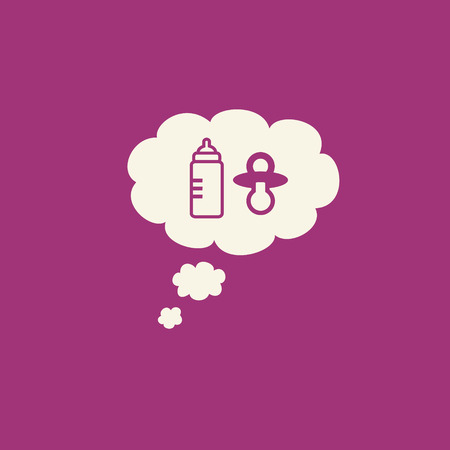 family planning: Simple family planning graphic with baby bottle and pacifier inside a thought bubble on purple pink background. Stock Photo