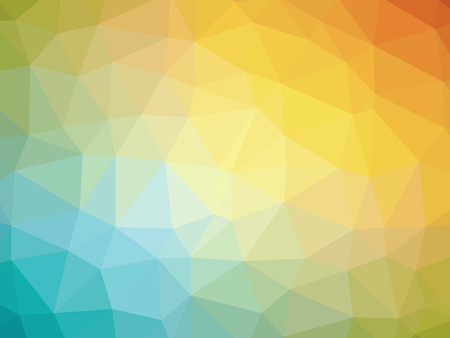 polychromatic: Abstract rainbow orange teal yellow gradient polygon shaped background. Stock Photo