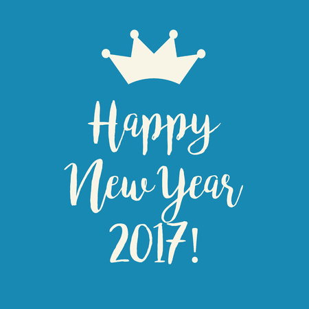 nye: Simple blue Wishing you a Happy New Year 2017 greeting card with a crown.