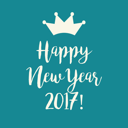 nye: Cute simple blue teal Happy New Year 2017 greeting card with a crown. Illustration