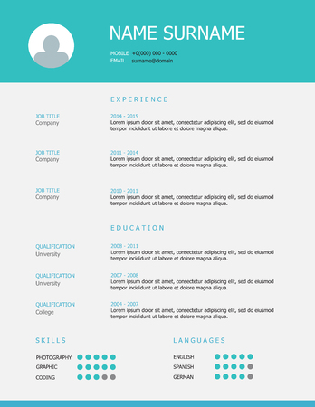 headings: Professional simple styled resume template design with teal blue headings on grey background.